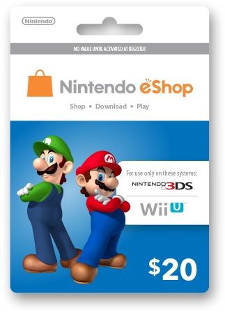 Nintendo Eshop Tarjeta Wiiu / Wii / 3ds 20 Dólares Codigo