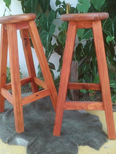 Bancos altos madera s lidos 3 tonos barcits desayunadr for Bancos de madera para barra