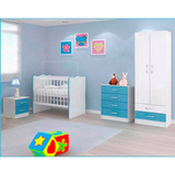 Juego Dormitorio Infantil Ropero + Cuna + Comoda + Mesita