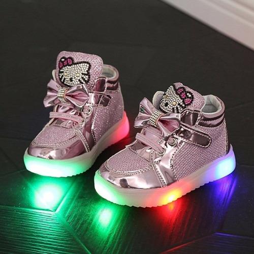 fotos oficiales 32a29 3d9ac Zapatos Luces Led Para Niñas Gatita Kitty (por Encargue) - U ...