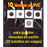 Exclusivo 10 Láminas Sin Solapa Para Monedas En Cartoncitos