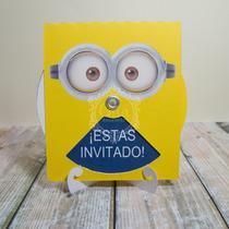 Tarjeta Invitacion Giratoria Minions Personajes En Venta En