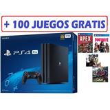 Playstation 4 Pro 1 Tera 4 K + 100 Free Games Con Garantia