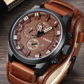 Reloj Original Con Maya De Cuero Maquina Japon Ofertoooon!!!