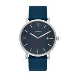 Reloj De Hombre Skagenhagen Acero Inox Y Silicona Azul