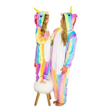 Pijamas Arcoiris En Tela Plush. Unicornio Talles Xs Al L