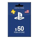 Playstation Psn Store Gift Card Ps4 Ps3 Vita Usd 50 Usa