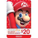 Nintendo Eshop 20 Dolares Switch Wii U 3ds Código Original