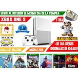 Xbox One S 1tera Nueva 2018 Slim 4k Hdr 140 Juegos + Garanti