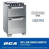 Cocina Gas Doble Horno Electrolux Grill Acero 56dax Dimm