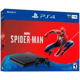 Consola Ps4 1tb Slim Spiderman + Joystick Original