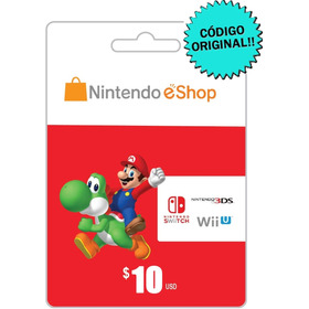 Nintendo Eshop 10 Dólares Tarjeta Gift Card / Switch 3ds Wii
