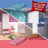 Juego Dormitorio Infantil Cuna Comoda Ropero Mesa Colchon