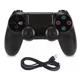 Joystick Ps4 Compatible Con Cable  , Colores Balnco Y Negro