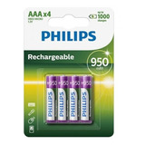 Pila Recargable Philips Aaa 950mah Blister X4 Pilas Triple A