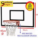 Tablero Basketball Aro Reglamentario Macizo 45cm Tacos Amura