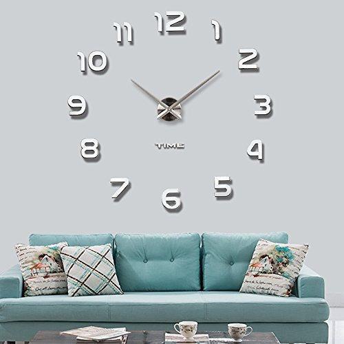479d1d187326 Vangold Frameless Diy Reloj De Pared 3d Mirror Wall Clock La