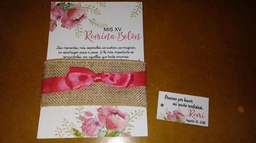 ded4405fdaa18 Tarjetas Invitaciones Boda Y Quince Con Arpillera O Puntilla