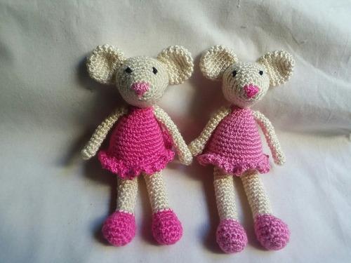 Peluches Muñecos Tejidos Ratoncita Tejida Crochet Amigurumis