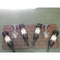 Botellero 4 Botellas Vino Copas Mdf Hierro Percheros Espejo