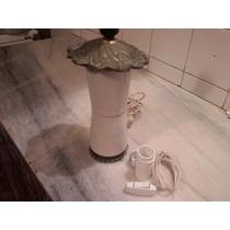 Lampara Portatil Antigua Bronce Macizo Porcelana Muy Pesada