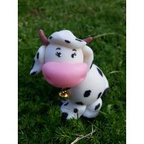 Adorno Torta Vaca Con Cascabel Porcelana Y Animales Granja