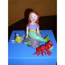 Princesa Ariel La Sirenita En Porcelana Fría En Tu Torta