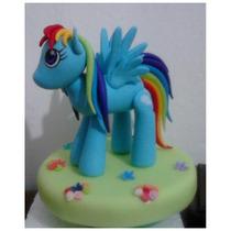 Adorno De Torta De Rainbow Dash. Pony. Porcelana Fría.