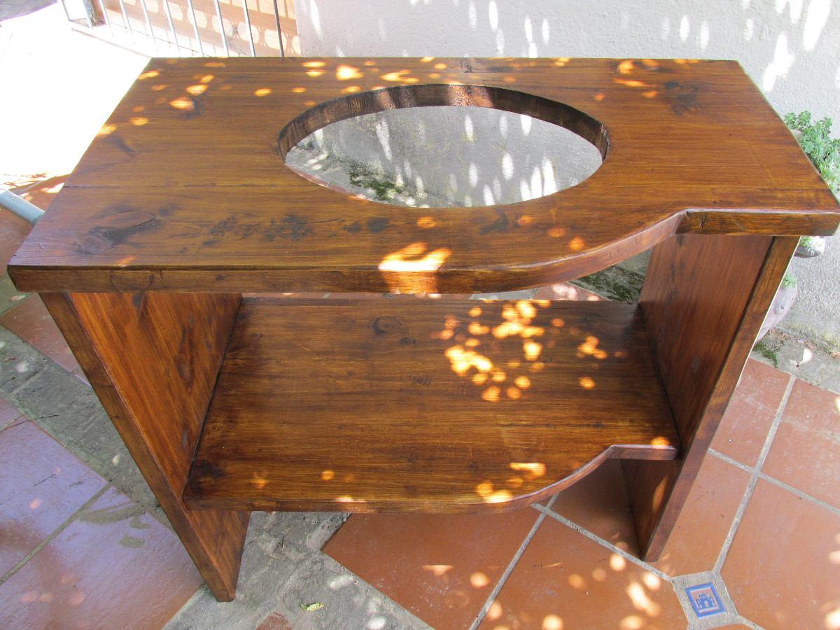 Baños Rusticos En Madera:Bajo Mesada De Baño Madera Maciza Rustico Sin Bacha – $ 5500,00 en