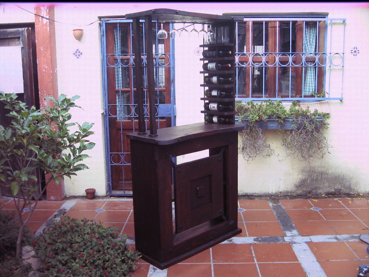 Bar madera tipo barra rustico c apliques de hierro for Bar de madera mercadolibre