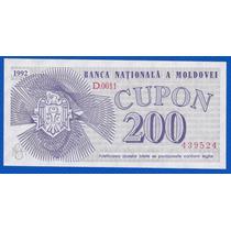 Fv * Billete - Moldavia / Moldova 1992 - 200 Cupon - P.2 Unc