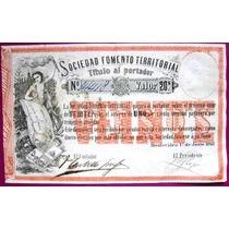Billete Año 1868 Soc. De Fomento Territorial 20 Pesos.-