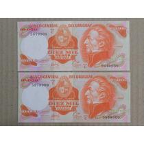 Billete Uruguay 1974 - 10.000 Pesos 2 Correlativos C 09 Unc