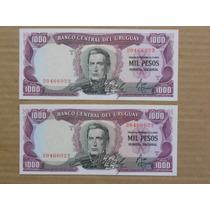 Billetes Uruguay - 1.000 Pesos Serie A Correlativos Unc