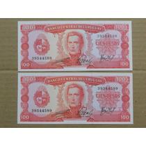 Billete Uruguay 1967 - $ 100 Pesos Serie A - 2 Correlativos