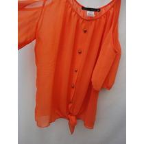 Camisa Blusa Tipo Gasa Color Naranja Hombros Descubiertos M