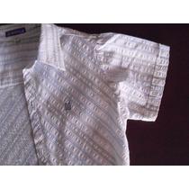 Camisa Ocean Drive Para Niño En Algodón, A Rayas. Talle 10.