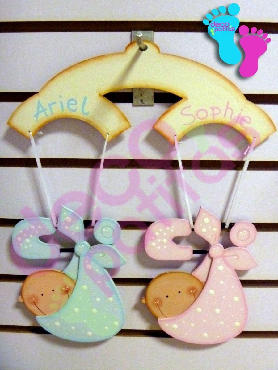 Cartel Bienvenida Mellizos Bebe Decoracion Cuartos - $ 950 ...