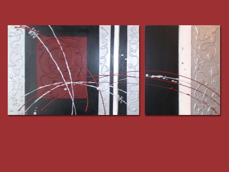 Cuadro trptico moderno abstracto pintado a mano car for Cuadros pintados a mano