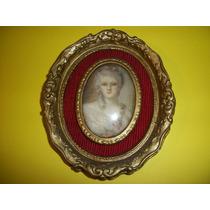 Antiguo Cuadro Oval Dorado Con Dama Impecable-(hay Dos)