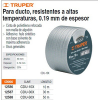 Cinta Ducto Alta Temperatura Ideal Aire Acondicionado Truper