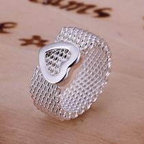 Anillo En Plata 925 Tipo Malla Con Corazón Tamaño 8