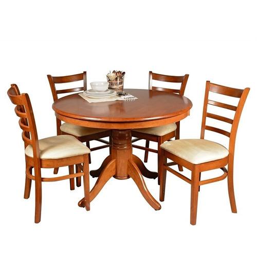 Juego de comedor 4 sillas tapizadas mesa redonda - Sillas tapizadas comedor ...