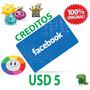 Facebook Tarjeta Código Prepaga Creditos $5 Dólares Online