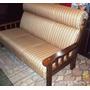 Sofa De 3 Cuerpos Tapizado Con Brazos De Madera, Livings