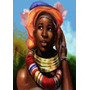 Adornos Y Joyas Tipicas De Mujer Africana - Lámina 45x30 Cm.