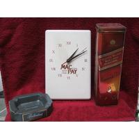 Reloj , Cenicero Y Lata De Whisky Johnnie Walker Red