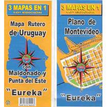 Mapa Rutero De Uruguay Y Montevideo - 3 Mapas En 1 - Eureka