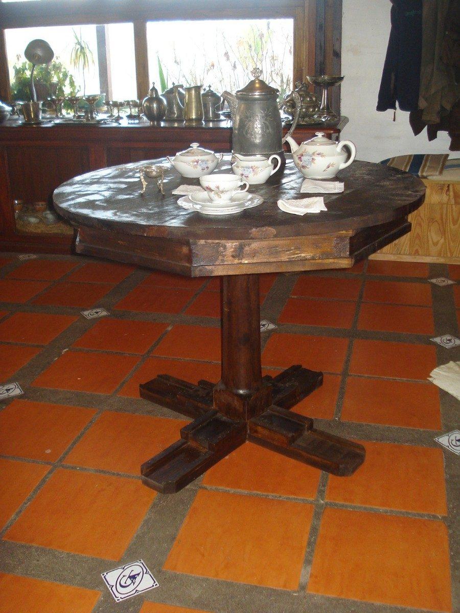 Mesa comedor lapacho cocina living redonda r stica 4 for Mesa cocina rustica