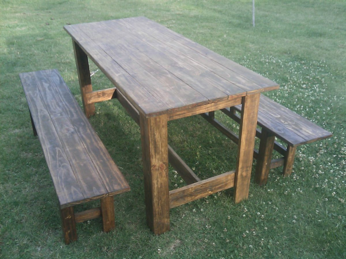 Mesa y 2 bancos madera maciza para interior o exterior - Mesa de madera exterior ...